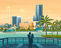 Orlando Florida Retro Travel Poster City Illustration