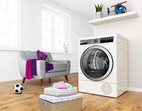 Bosch 3D Key visual - Clothes dryer for Parents