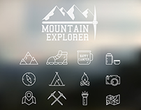 Mountain Camp Logo and Icons Set