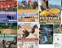 Communication affiches pour festivals de voyages.