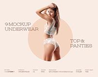 9 Mockups Woman Underwear. Top and Panties + 1 Free
