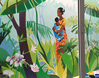 Tropical forest wall painting