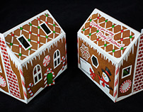Dimensional Gingerbread House Greeting Christmas Card.