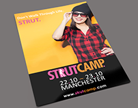 STRUTCAMP branding and promotional material