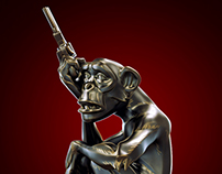 Mike Mignola Monkey With a Gun Statue