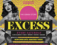 The Grain Store - Excess Event Flyers
