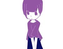 座り込む 紫