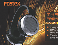 flyer for fostex headphones and speakers