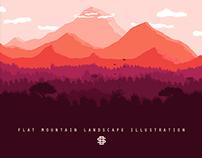 Flat Mountain Landscape Illustration
