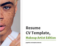 Resume CV Template Makeup, Artist Edition