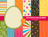 Easter Digital Paper with Egg Banner