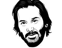 Vector illustration of Keanu Reeves
