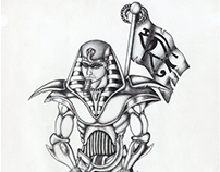 Egyptian warrior | ballpoint pen drawing | 2009