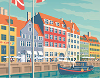 Copenhagen Denmark Travel Poster City Illustration