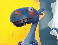 Toon Dinosaur timelapse - 2D concept to 3D model