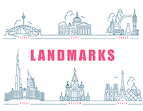 Famous Landmarks. Outline icons
