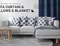 Sofa, Curtain, Pillows & Blanket Set