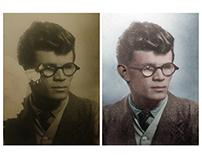 Restoration & colorisation - photograph missing an ear