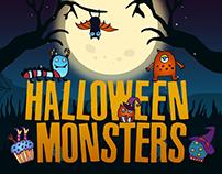 Halloween Monsters Free Vector Illustration