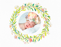 Floral Watercolour Wreath Product Set