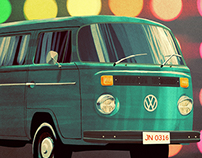 Original Vintage Car Illustration Print Posters