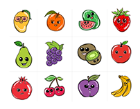 12 Cute Cartoon Fruits Set