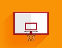 Flat Basketball Backboard Icon