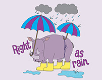 Right as Rain Rhino Kid's T-shirt and Greeting Card