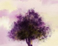 magical violet tree illustration