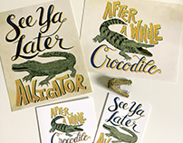 Alligator and Crocodile lettering art and cards