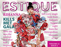 Estique Cover, Table of Contents, and Magazine Spread