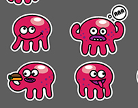 Emotions octopus set of stickers