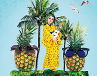 "Fruit&Kimono Art Photo Series - ""Pineapple"" Collage"