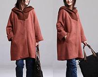 hooded casual woolen jacket
