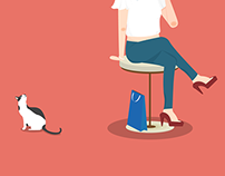 『illustrator』Girl and cat
