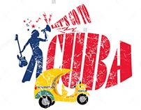 Cuba coco taxi vector art