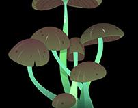 Ai on iPad: Glowing Mushrooms