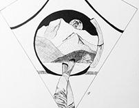 Camping Ink Illustration