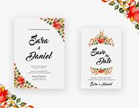 Watercolor Floral Wedding Invitation Card   (CMYK) & 10