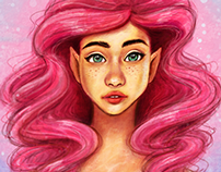 Pink Mermaid Digital Painting