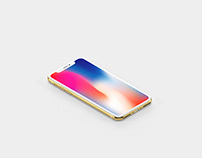 Gold Isometric iPhone X Mockup