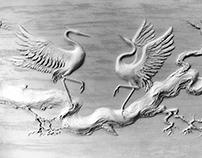 """Oriental motifs or dancing Japanese crane"""