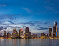 the Detroit skyline