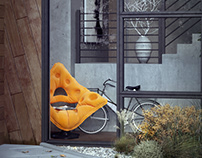 Concrete house with yellow armchair