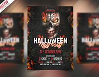 Freebie : Halloween Party Invitation Flyer PSD Template