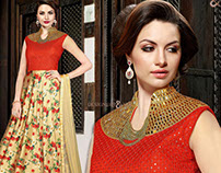 Womens Indo Western Designer Party Wear Long Gowns By D