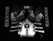 Phantom Black V12 Rolls Royce Engine Illustration