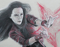 The Scarlet Witch (Age of Ultron) in Charcoal & Pastel