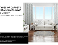 4 Types of Carpets, Curtains and Pillows Set