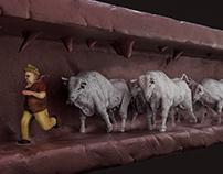 Man Running From Bulls